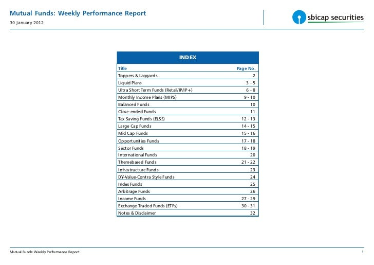 Mutual Funds: Weekly Performance Report30 January 2012                                                                    ...