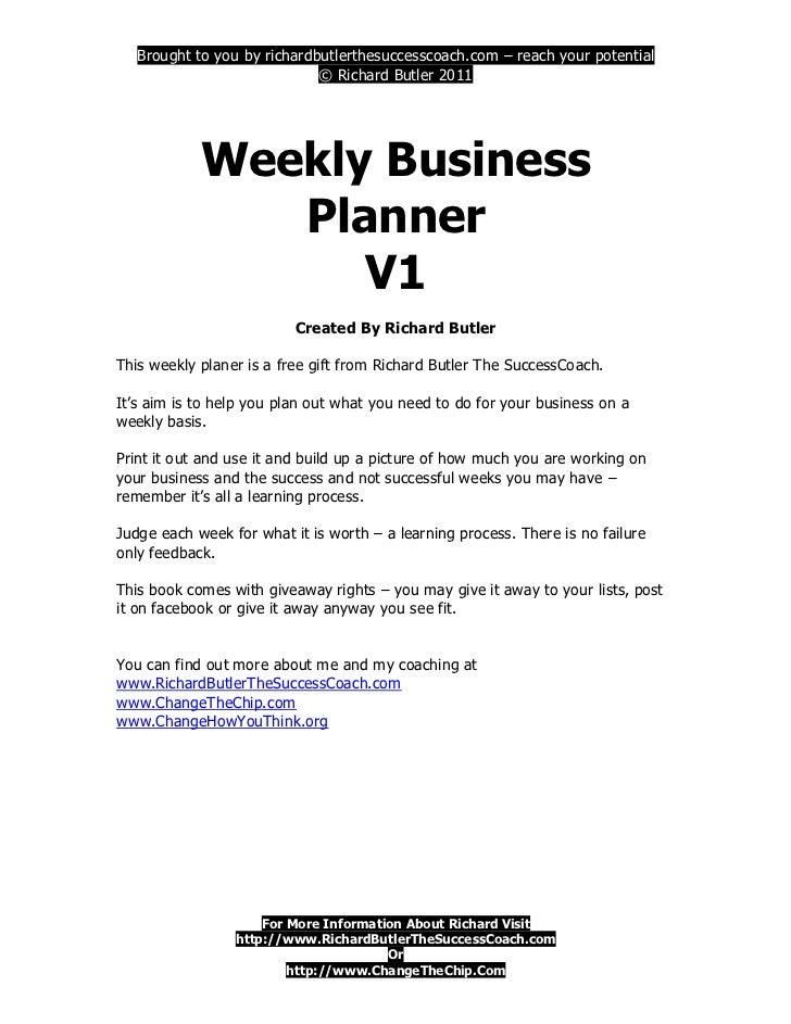 Weekly Business Planner