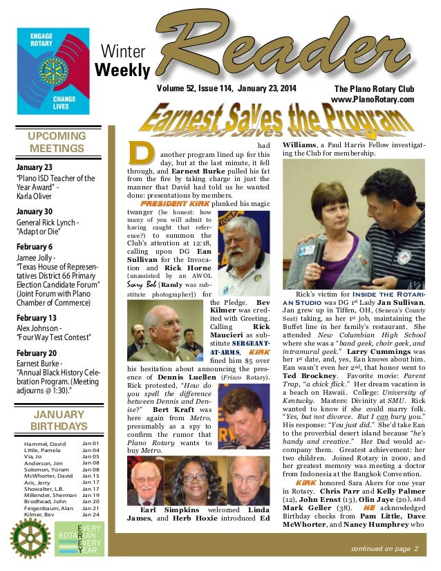 "Winter Weekly  Reader Volume 52, Issue 114, January 23, 2014  UPCOMING MEETINGS January 23 ""Plano ISD Teacher of the Year ..."