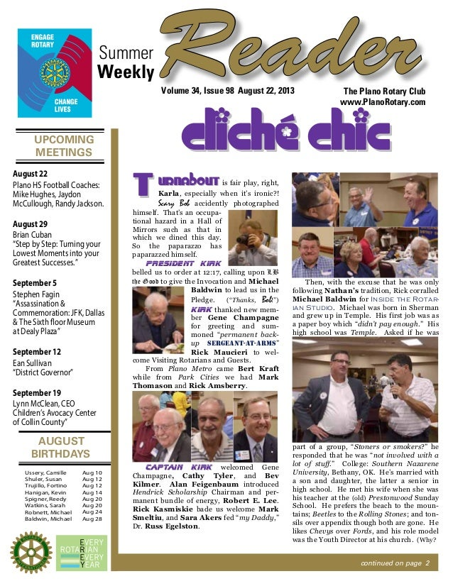 UPCOMING MEETINGS AUGUST BIRTHDAYS ReaderSummer The Plano Rotary Club www.PlanoRotary.com Volume 34, Issue 98 August 22, 2...