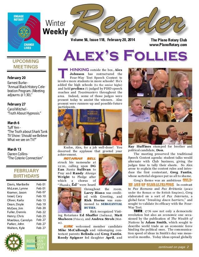 "Winter Weekly  Reader Volume 56, Issue 118, February 20, 2014  UPCOMING MEETINGS February 20 Earnest Burke ""Annual Black H..."