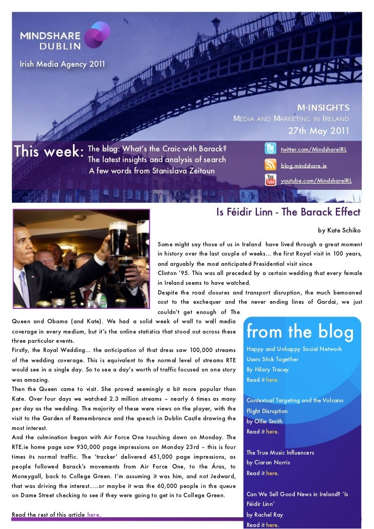 Mindshare Weekly Report 27th May 2011