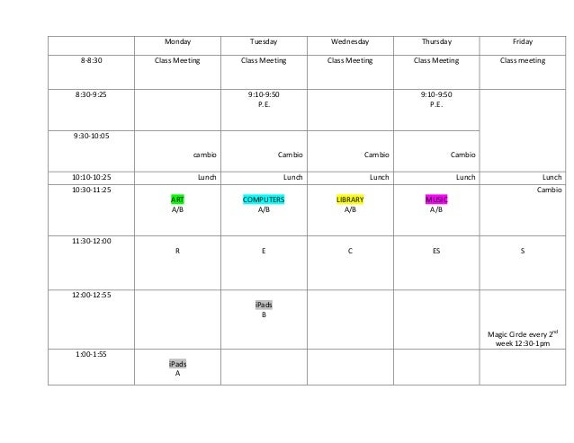 Weekly schedule of Grade 6 A and B