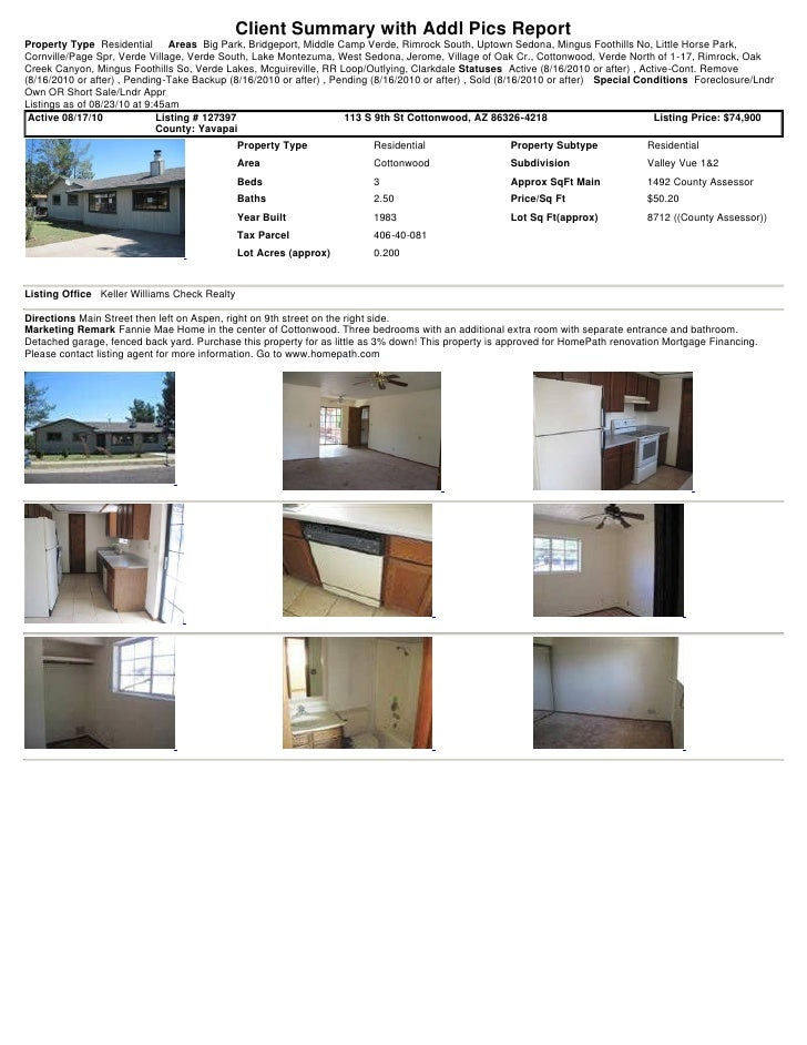 Weekly Sedona and the Verde Valley Foreclosure Short Sale Transaction Report  2010 08-23-0945