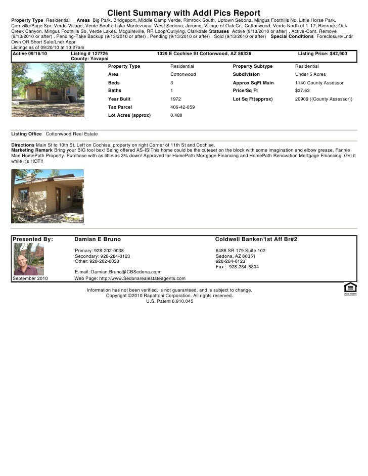Weekly Sedona and Verde Valley Foreclosure Short Sale Transaction Report 2010 09-20-1027