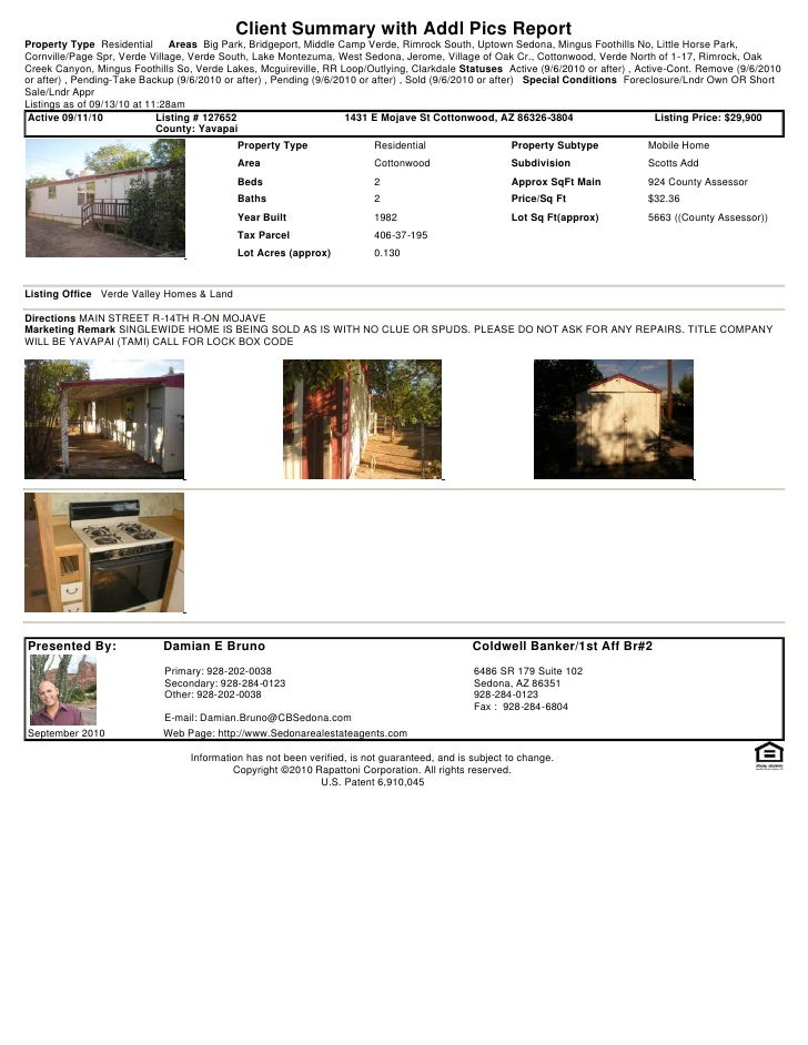 Weekly Sedona and Verde Valley Foreclosures Short Sales Transaction Report 2010 09-13