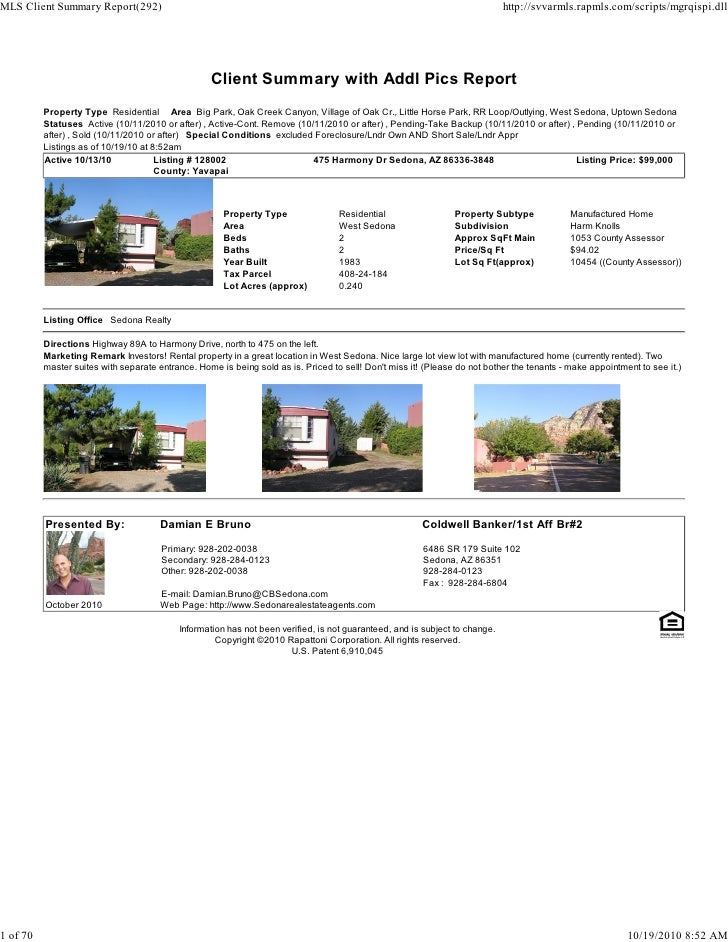 Sedona Weekly Real Estate Transaction Report 2010 10-18