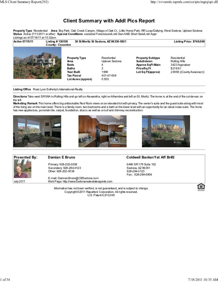 Weekly Sedona Real Estate Transaction Report