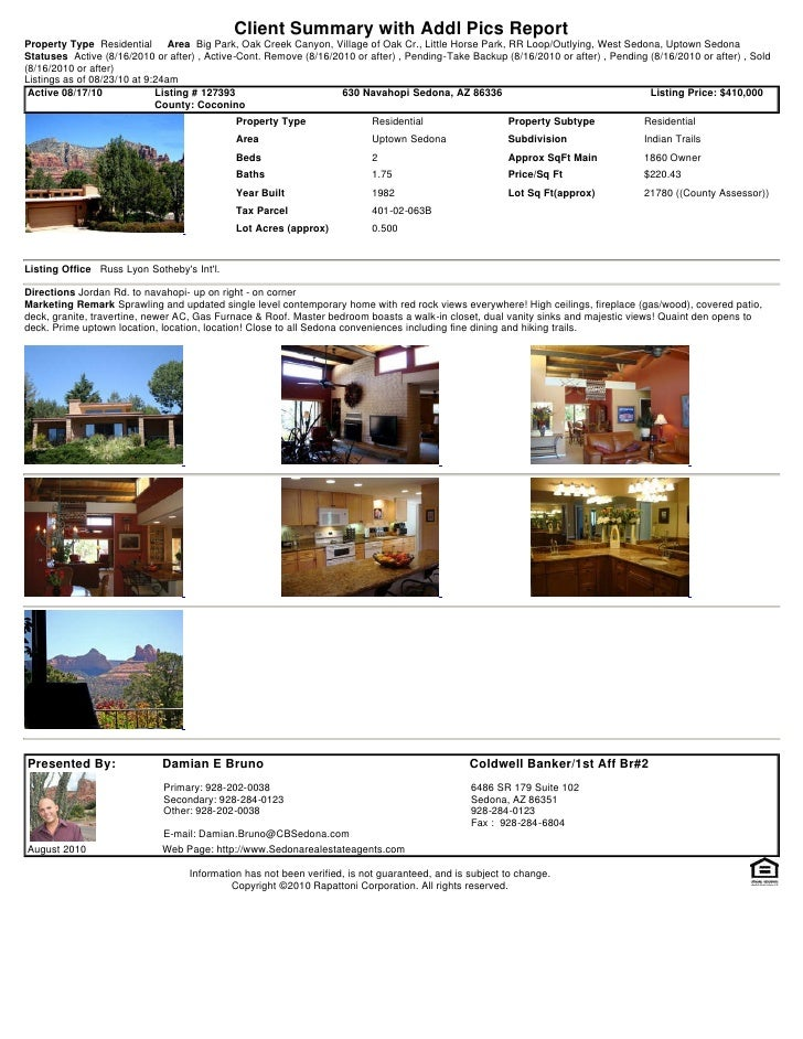 Weekly Sedona Real Estate Transaction Report 2010 08-23-0924