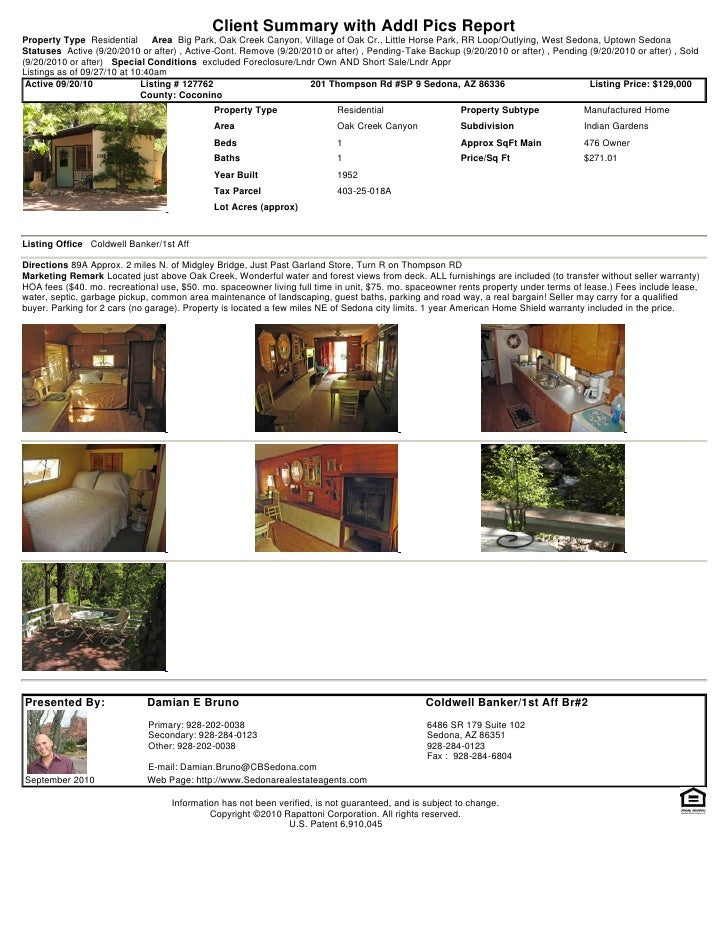 Client Summary with Addl Pics Report Property Type Residential       Area Big Park, Oak Creek Canyon, Village of Oak Cr., ...
