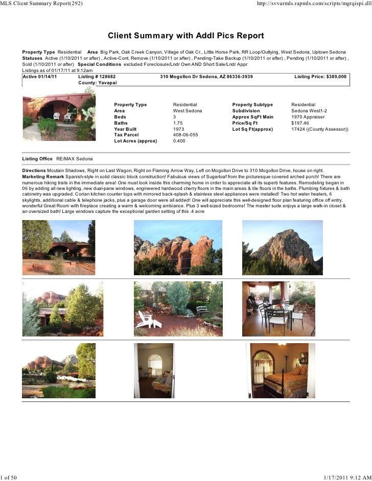 Weekly Sedona Real Estate Transaction Report