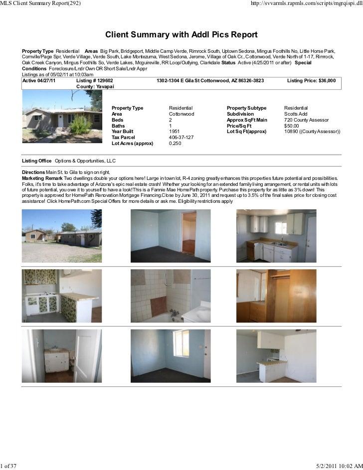 Weekly Sedona Verde Valley Foreclosure Short Sale Transaction Reportpdf