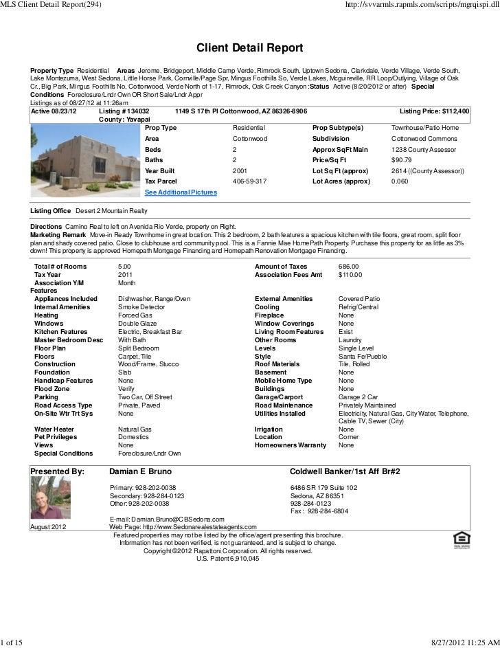 Weekly Sedona Verde Valley Foreclosure Short Sale Transaction Report