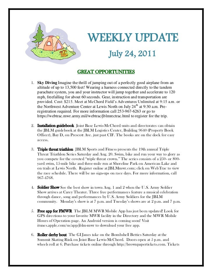 -247650-133350<br />WEEKLY UPDATE<br />July 24, 2011<br />GREAT OPPORTUNITIES<br /><ul><li>Sky Diving Imagine the thrill o...