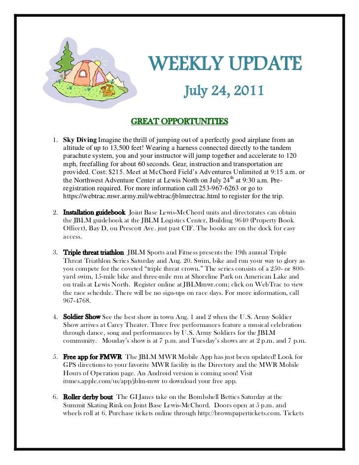 Weekly update 21 july