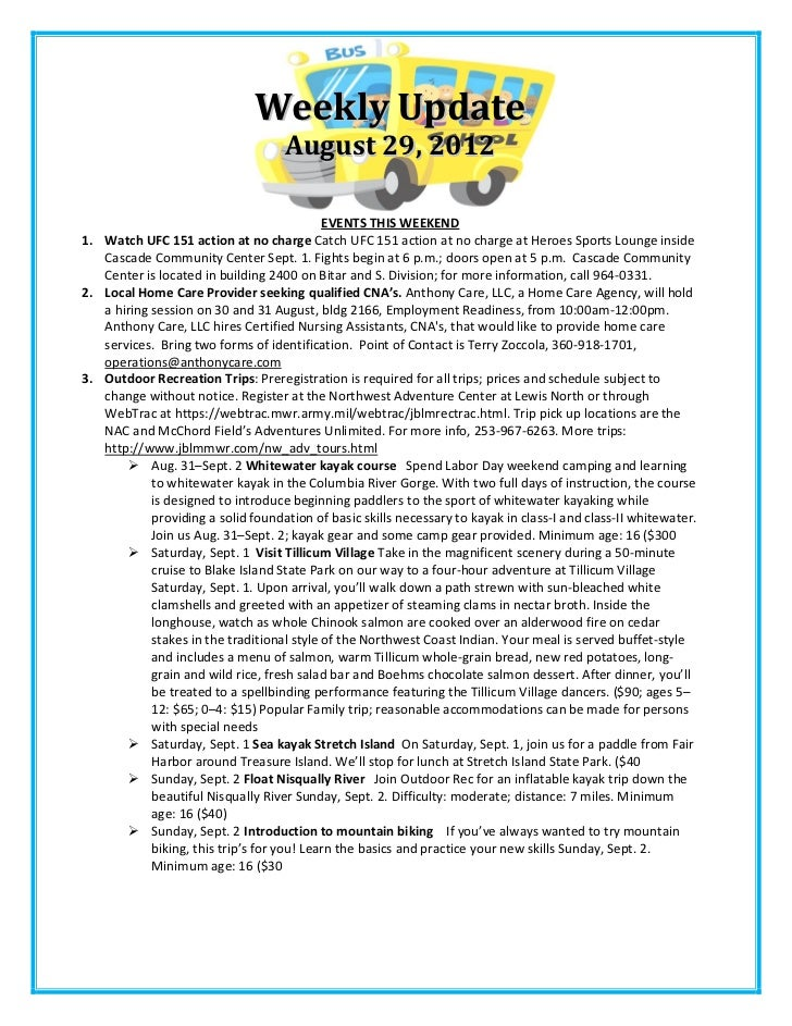 Weekly Update                                    August 29, 2012                                            EVENTS THIS WE...
