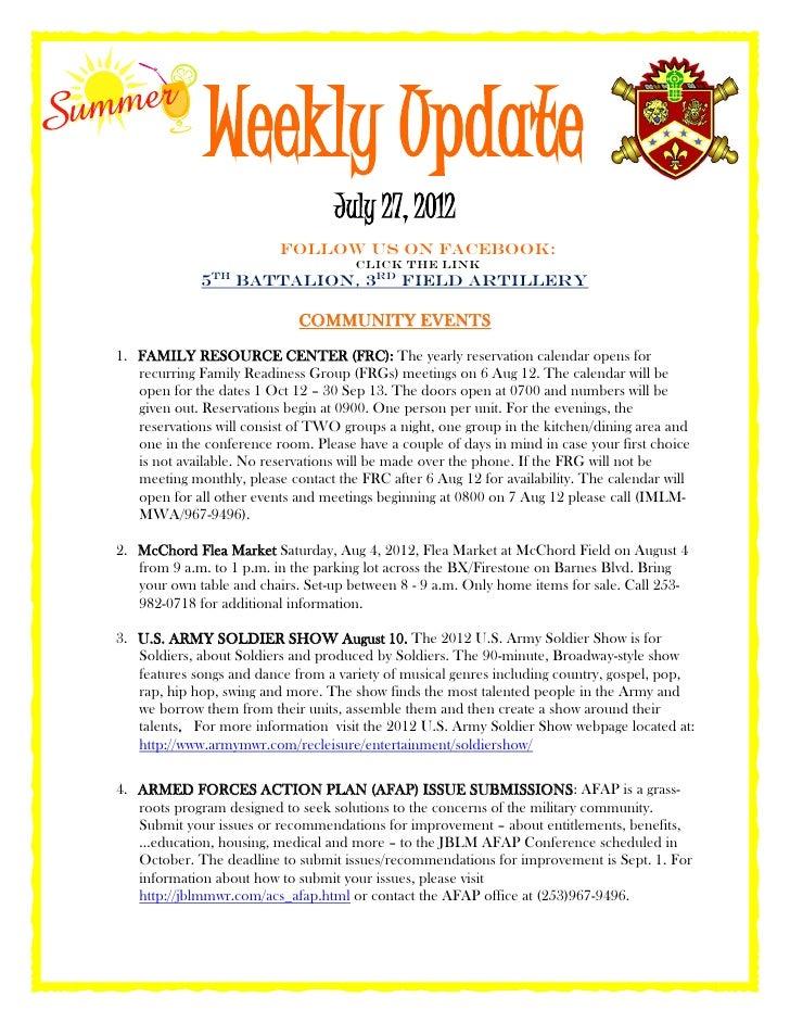 Weekly update 7.27.2012