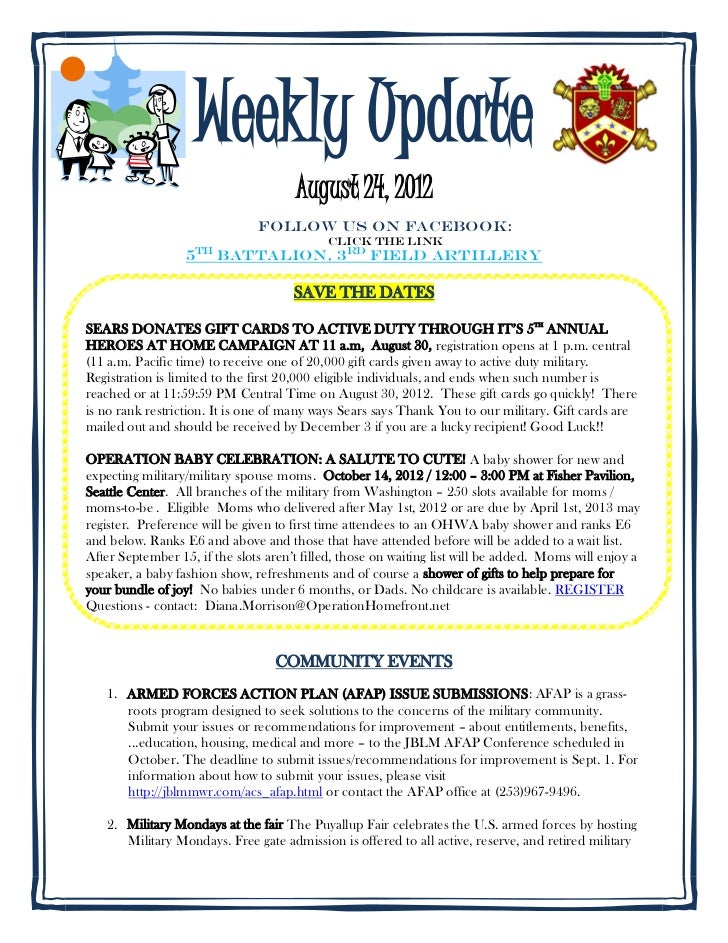 Weekly Update                                      August 24, 2012                               Follow us on FACEBOOK:   ...
