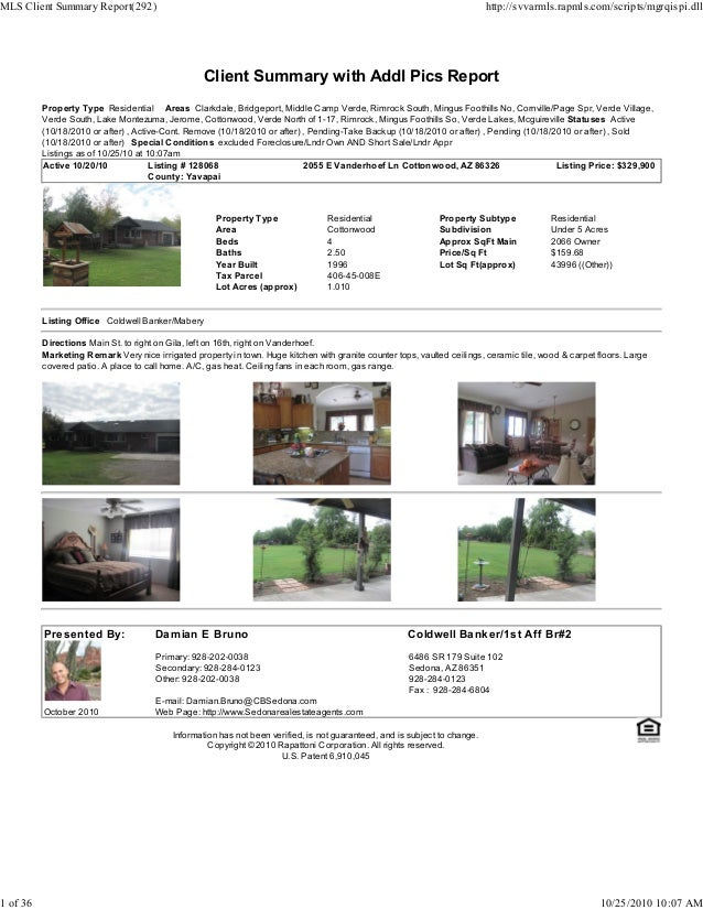 Client Summary with Addl Pics Report Property Type Residential Areas Clarkdale, Bridgeport, Middle Camp Verde, Rimrock Sou...
