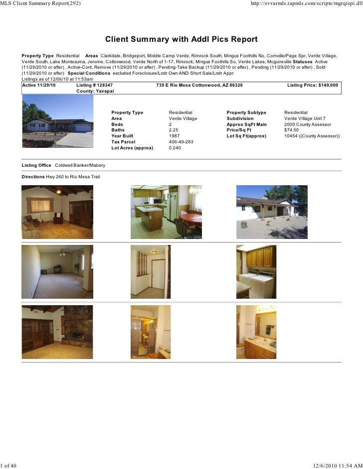Verde Valley Weekly Real Estate Transaction Report 2010-10-18