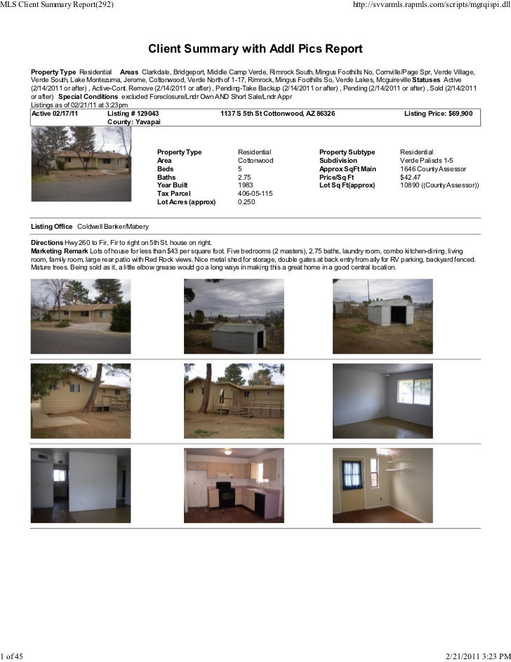 Weekly Verde Valley Real Estate Transaction Report