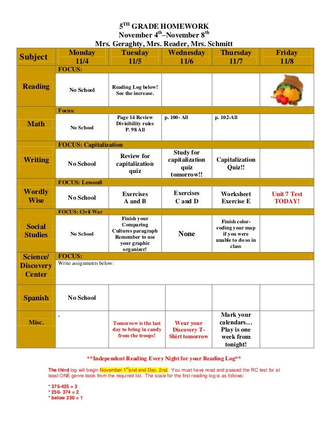Week of november 4th