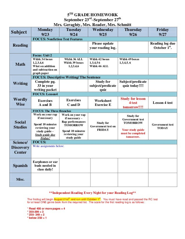 5TH GRADE HOMEWORK September 23rd –September 27th Mrs. Geraghty, Mrs. Reader, Mrs. Schmitt Subject Monday 9/23 Tuesday 9/2...