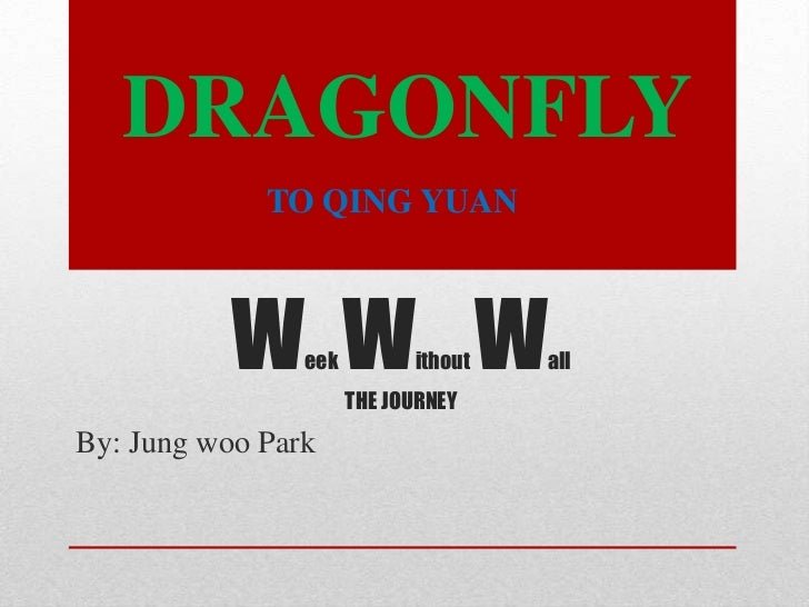 Week Without WallTHE JOURNEY<br />By: Jung woo Park<br />DRAGONFLY<br />TO QING YUAN<br />