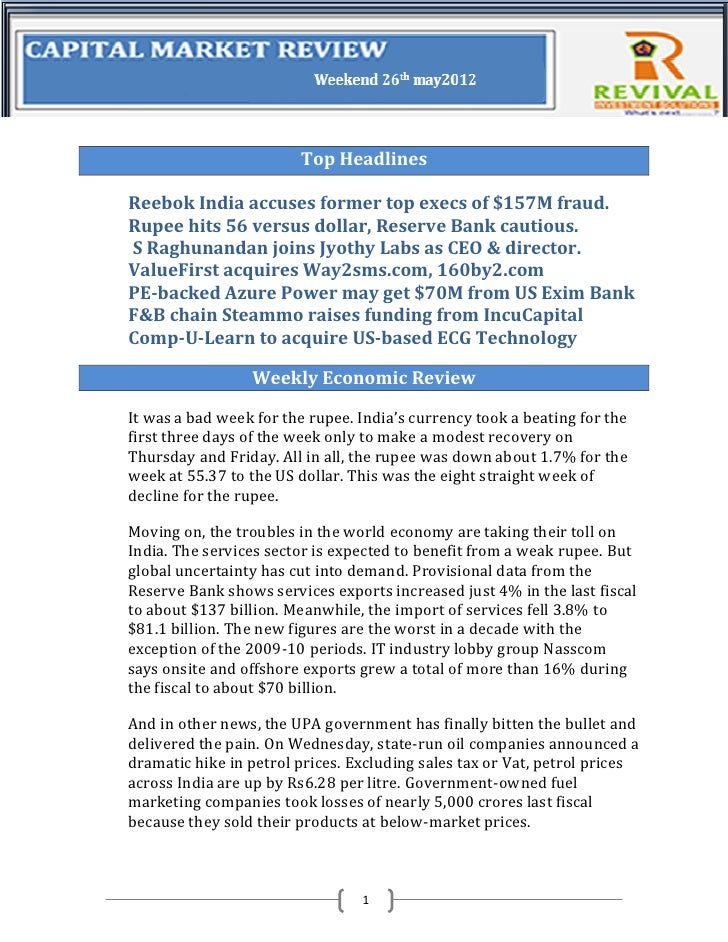 Weeky newsletter 26th may 2012