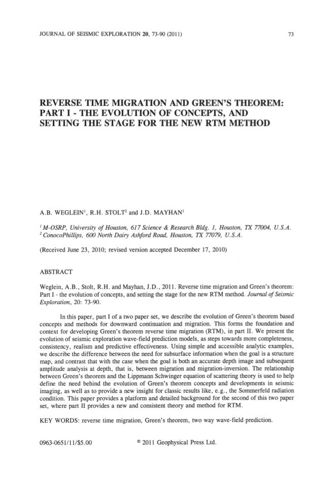 Reverse Time Migration and Green's Theorem- Professor. Arthur B. Weglein
