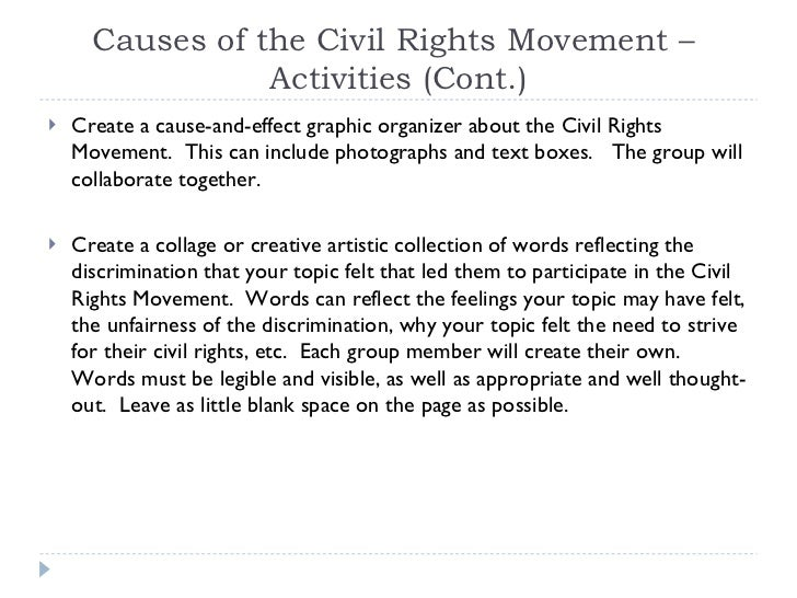 Cause and effect essay on civil rights movement