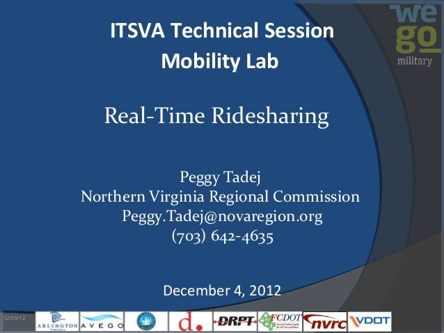 ITSVA Technical Session                   Mobility Lab              Real-Time Ridesharing                        Peggy Tad...