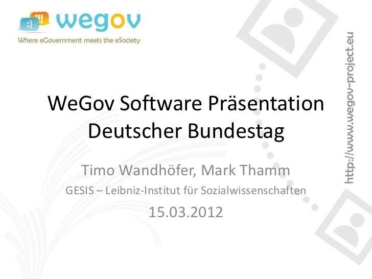 WeGov Software Präsentation (Prototyp 2.5) im Bundestag