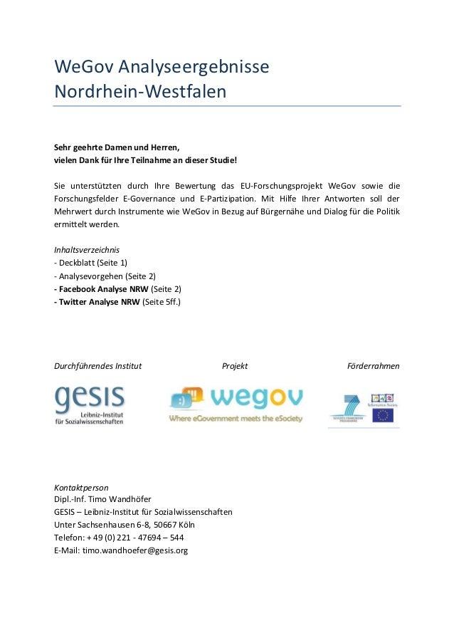 WeGov AnalyseergebnisseNordrhein-WestfalenSehr geehrte Damen und Herren,vielen Dank für Ihre Teilnahme an dieser Studie!Si...