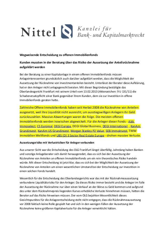 Wegweisende Entscheidung zu offenen ImmobilienfondsKunden mussten in der Beratung über das Risiko der Aussetzung der Antei...