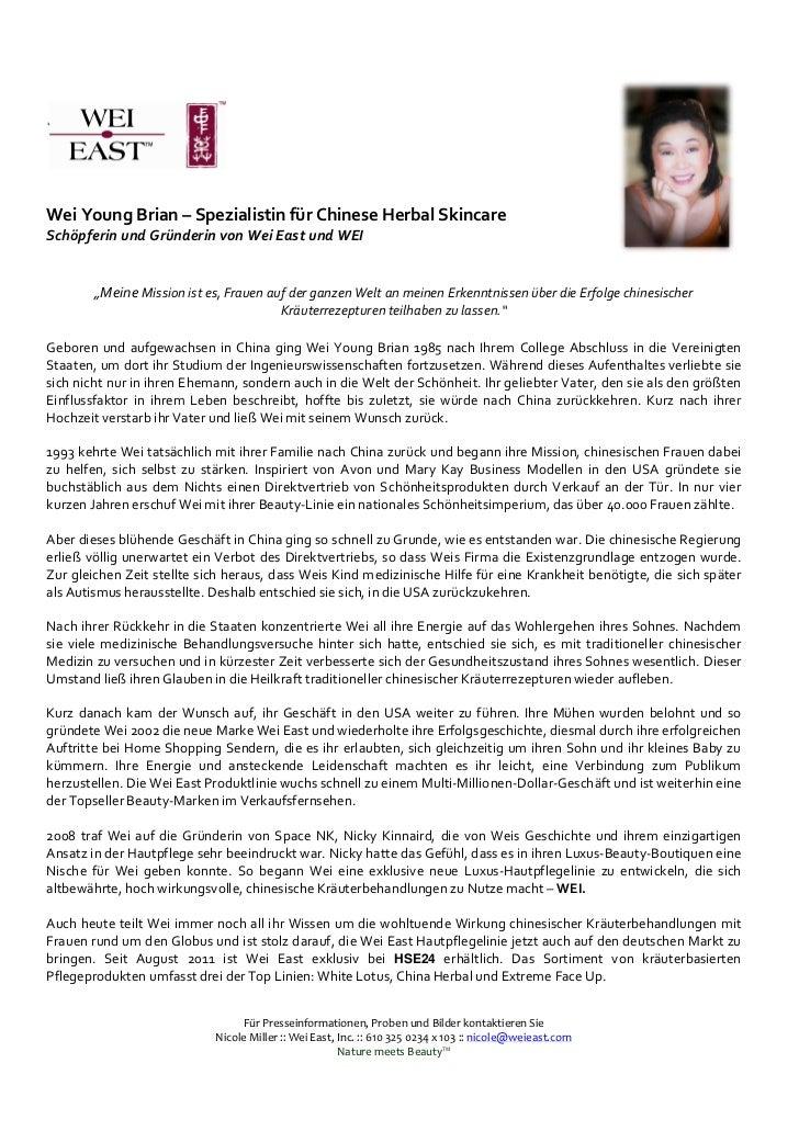 """Wei Young Brian – Spezialistin für Chinese Herbal SkincareSchöpferin und Gründerin von Wei East und WEI        """"Meine Miss..."""