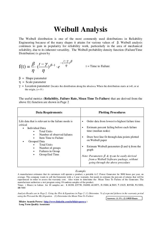 Weibull Analysis The Weibull distribution is one of the most commonly used distributions in Reliability Engineering becaus...