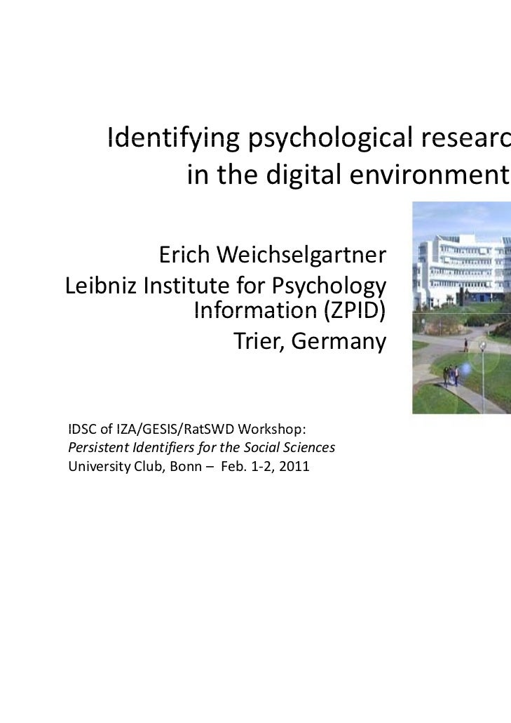Identifying psychological research data in the digital environment.