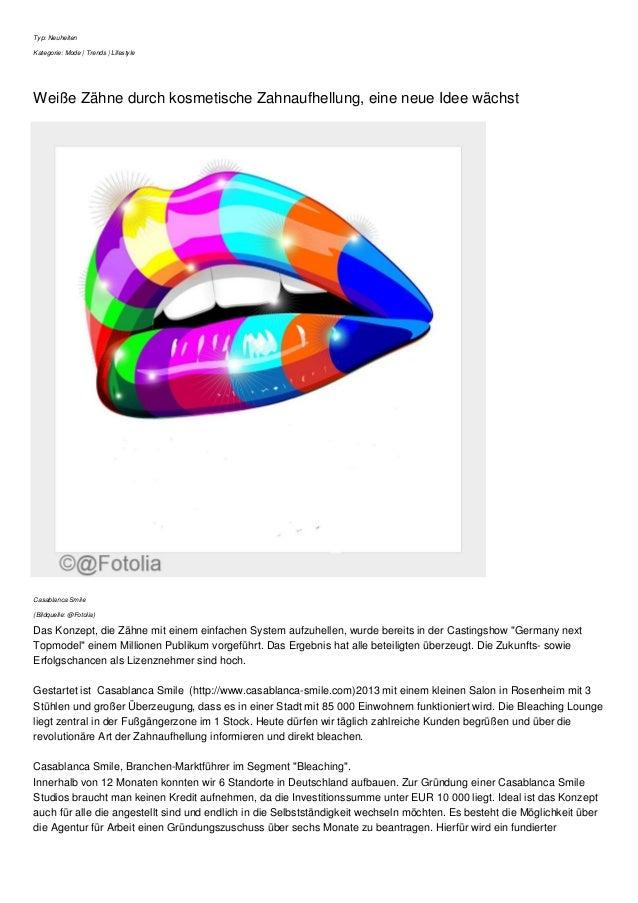 Typ: Neuheiten Kategorie: Mode | Trends | Lifestyle Weiße Zähne durch kosmetische Zahnaufhellung, eine neue Idee wächst Ca...