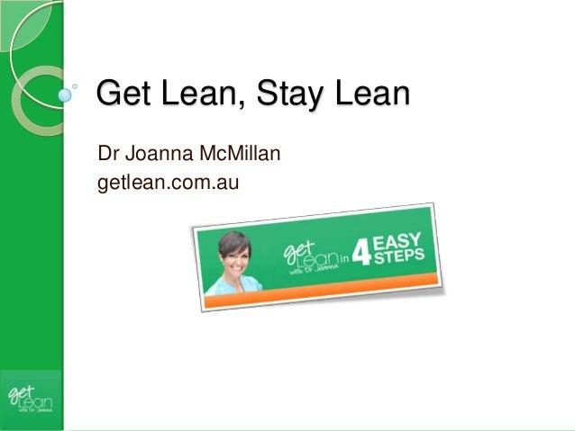 Get Lean, Stay Lean Dr Joanna McMillan getlean.com.au