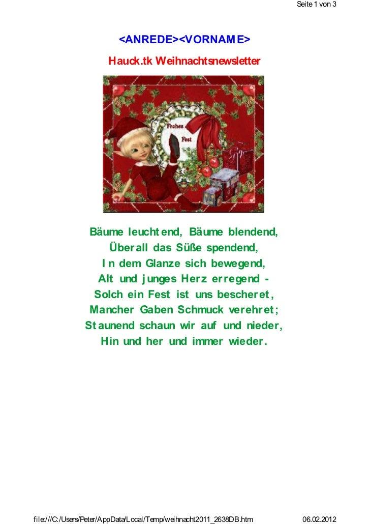 Seite 1 von 3                         <ANREDE><VORNAM E>                      Hauck.tk Weihnachtsnewsletter               ...