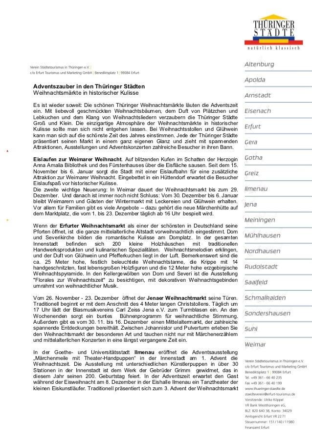 Adventszauber in den Thüringer StädtenWeihnachtsmärkte in historischer KulisseEs ist wieder soweit: Die schönen Thüringer ...