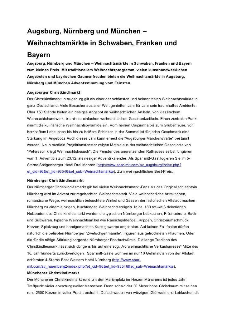 Augsburg, Nürnberg und München –Weihnachtsmärkte in Schwaben, Franken undBayernAugsburg, Nürnberg und München – Weihnachts...