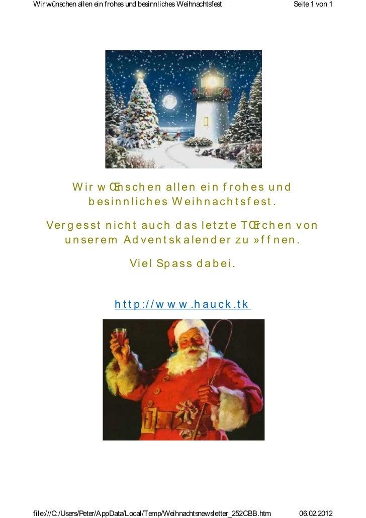 Wir wünschen allen ein frohes und besinnliches Weihnachtsfest               Seite 1 von 1            W ir w Œ sch en allen...