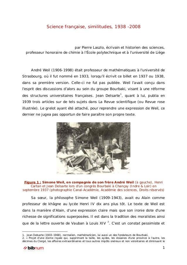 Science française, similitudes, 1938 -2008  par Pierre Laszlo, écrivain et historien des sciences, professeur honoraire de...