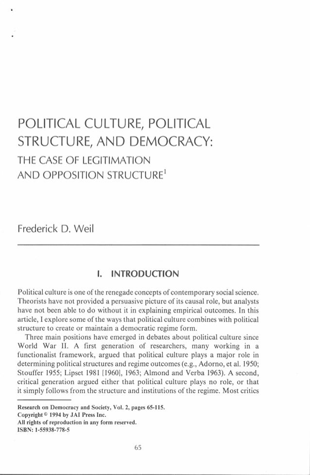 Weil, 1994, Political Culture, Political Structure and Democracy