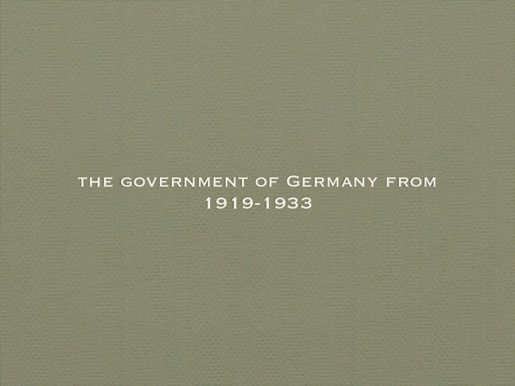 the government of Germany from           1919-1933