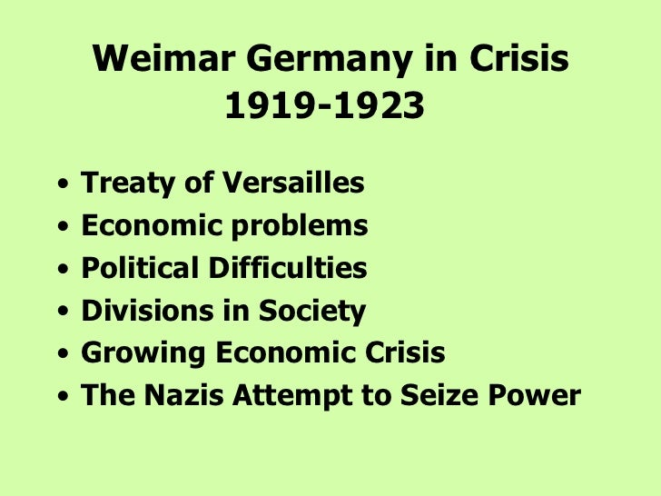weimar republic problems The weimar republic after germany lost the first world war, the kaiser fled and a new democratic government of germany was declared in february 1919 at the small town of weimar.