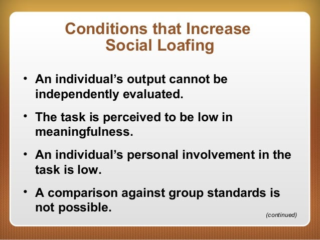 effect of perceived anonymity of group task social loafing The social identity model of deindividuation effects  anonymity in the group either has the effect of  known research on the social loafing effect began.