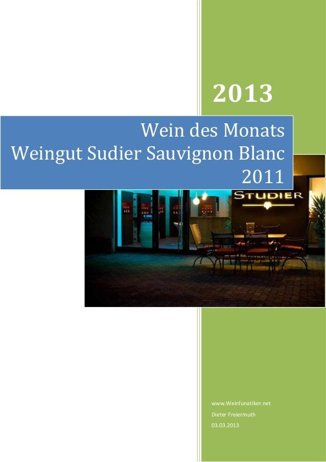 2013              Wein des MonatsWeingut Sudier Sauvignon Blanc                         2011                     www.Weinf...